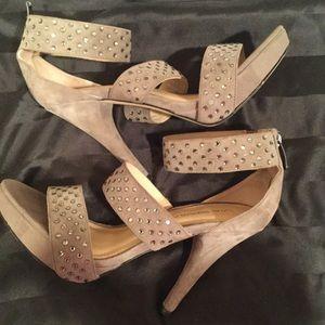Via Spiga Crystal Suede Ankle Strap Heels Size 6